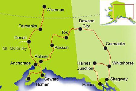 Polarkreis Alaska Karte.Yukon Alaska Individuelle Mietwagentour Bis Zum Polarkreis